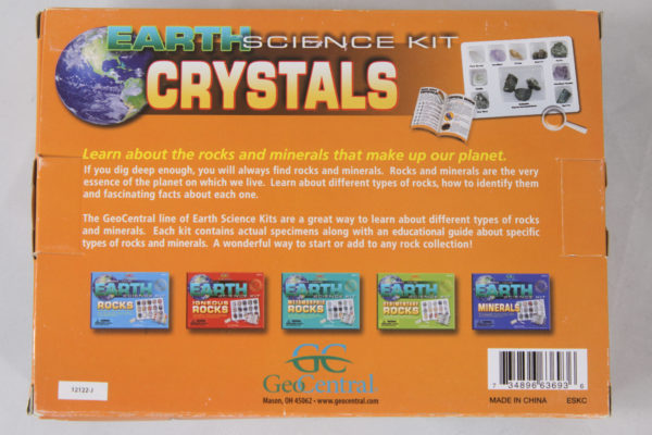 Back of earth science crystals science kit box