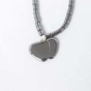 Natural Hematite Double Heart Necklace