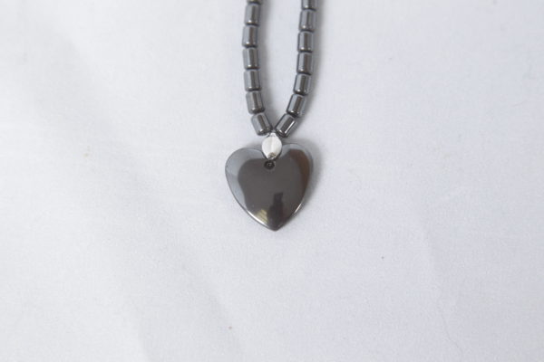 Natural Hematite Small Heart Necklace