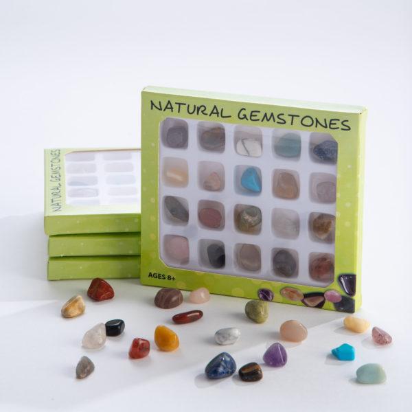 Gemstones Around the world and box of gemstones