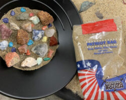 Patriot Bag gemstone mining kit with red white and blue rocks