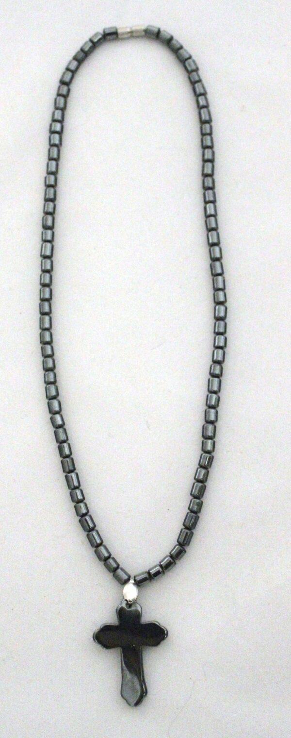 Natural Hematite Ornate Cross Necklace