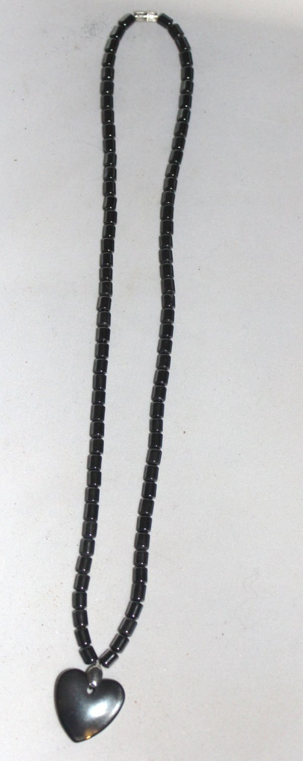 Natural Hematite Stone Heart Necklace