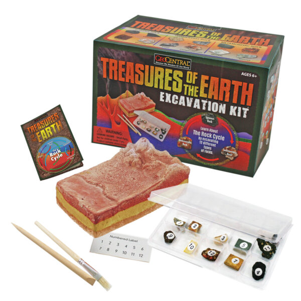 Dig kit with chisel, brush, gems, dig block and package.