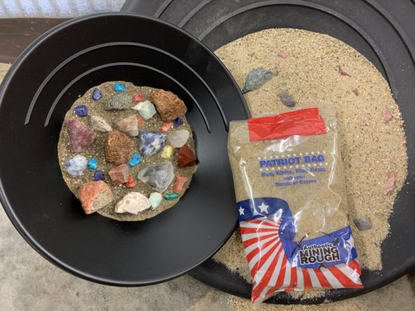 Patriot bag mining kits with sand and gemstones