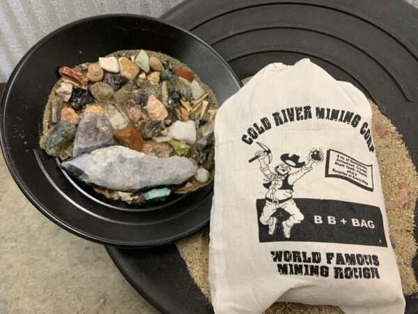 Gemstone Mining Bucket Dig Kit Black Bag Sand, Fossils, Shark Teeth and a Surprise