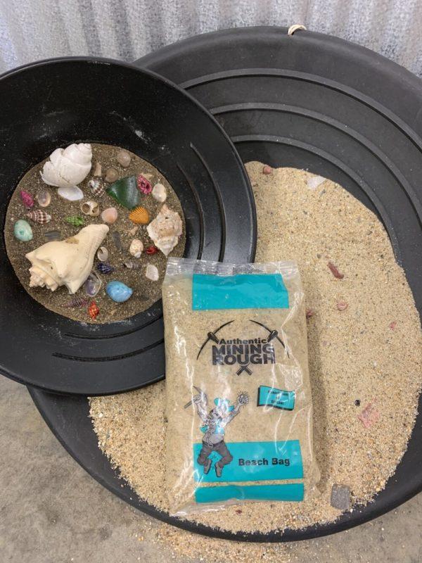 Mining Bucket with sand, sea shells, sea glass and shark teeth