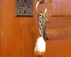 Citrine Point Key Chain hanging out of lock on wooden door