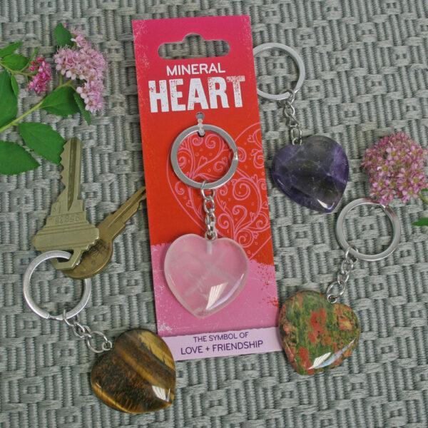 Mineral Heart Key Chain