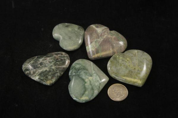 Green onyx hearts