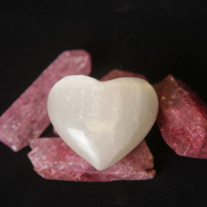 Selenite heart puff Heart