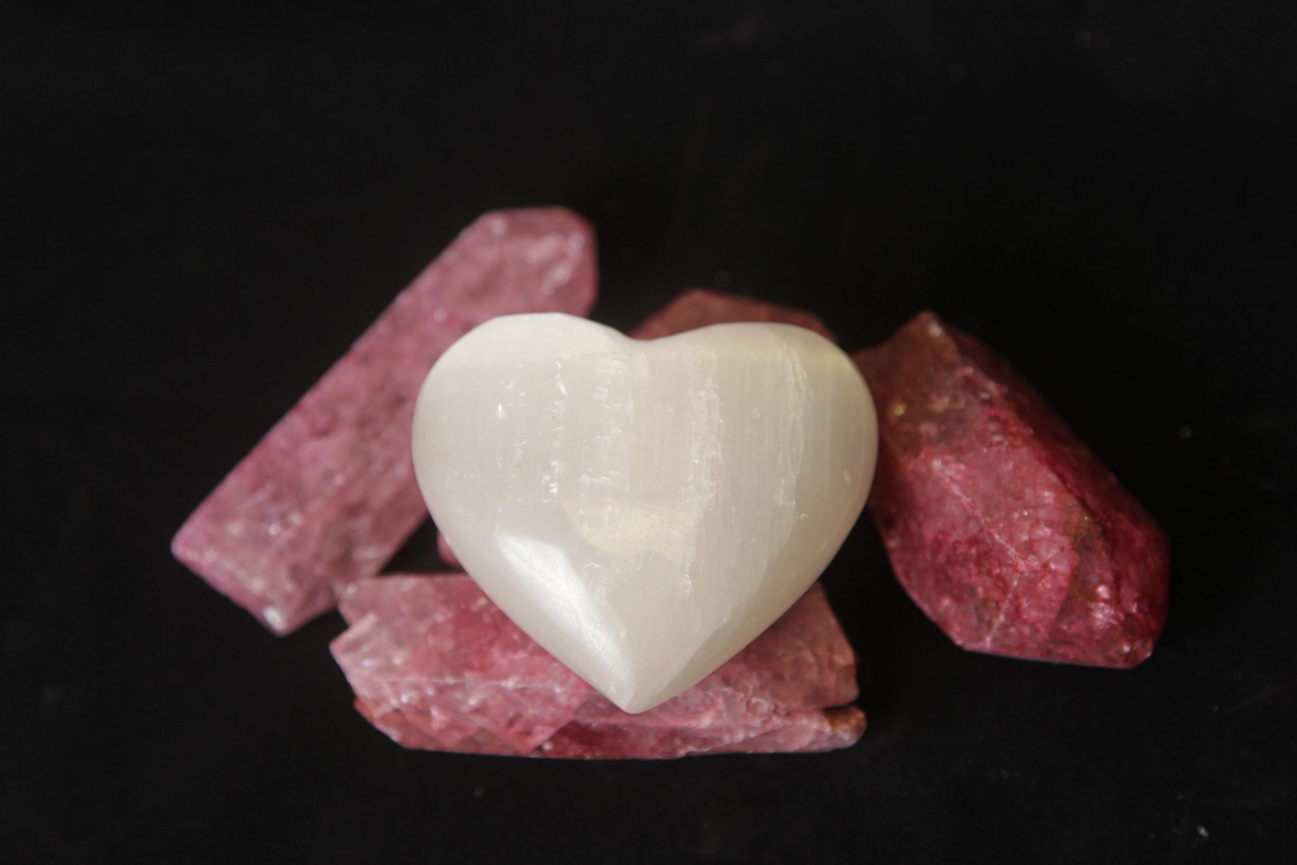 Selenite heart puff heart