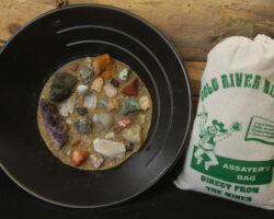 Assayers Bag mining kit for kids of gemstones and sand