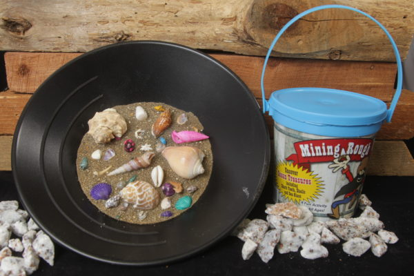 Light Blue Sea Shell Mining Bucket with sea glass and sharks teeth