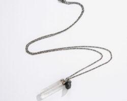 quartz and black tourmaline necklace