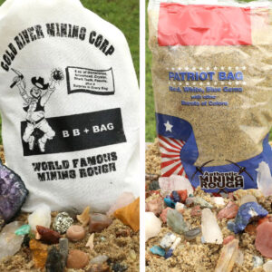 Two of our top-selling mining rough bags in one order. So many really cool gems and fossils. A great way to spark the love of rock collecting.  BB+ is a Big Bag of gems and fossils PLUS a HUGE surprise! And you'll find all sorts of red, white, and blue gems from around the world in our Patriot Bag.  You'll have lots of fun sifting, discovering and identifying your treasures.