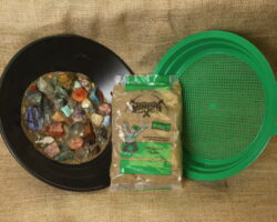 Emerald bag plus rock mining kit with Sifter and Mining bucket filled with sand and gemstones