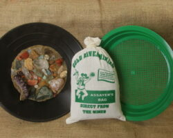 Assayers gemstone mining bag and sifter with gems and sand