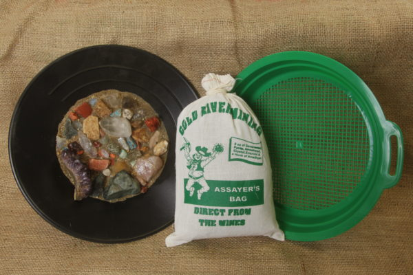 Assayers bag and sifter with gems and sand