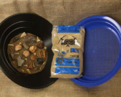 Excavation Kit Blue large fossil bag with sifter
