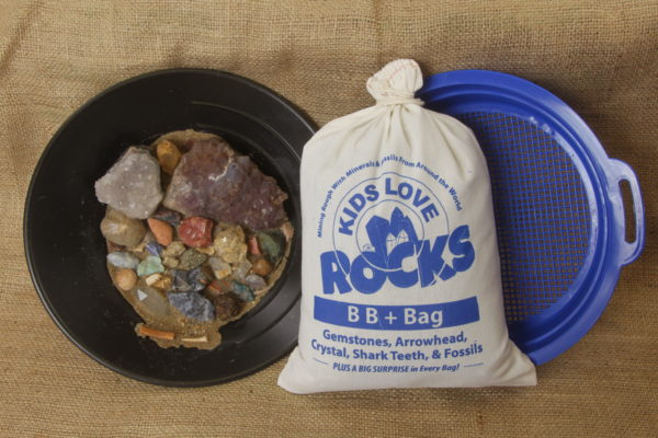 Bag of Gemstones with gem mining sifter