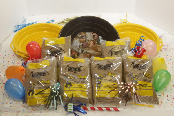 Yellow Bag mining kit party pack with sifters