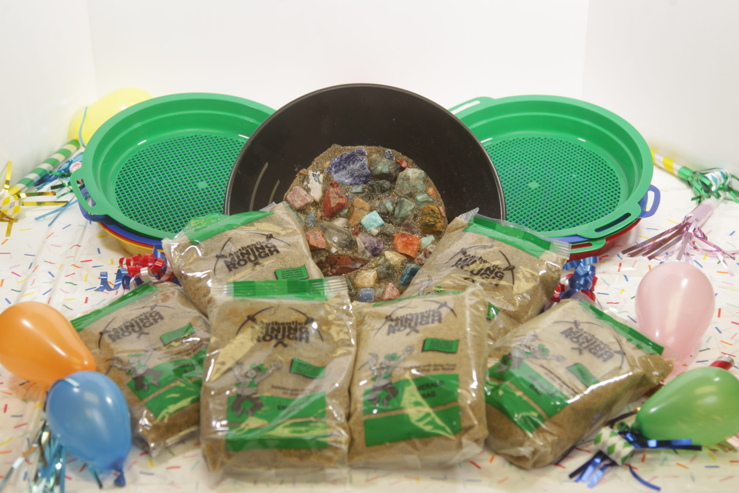 Gemstone Mining Party Pack kit with sifters and six mining bags