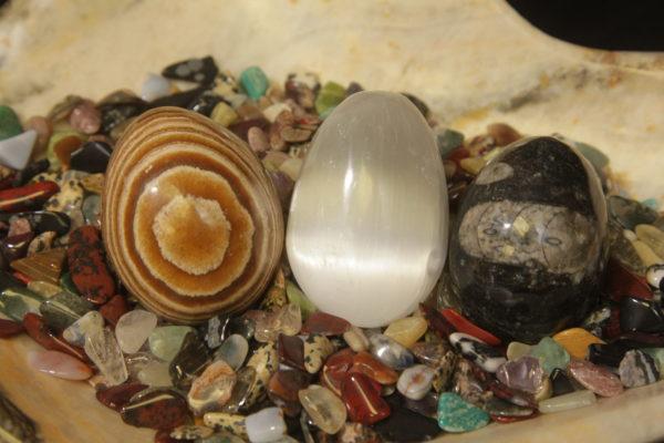 3 Pack Selenite, Aragonite, and Orthoceras eggs