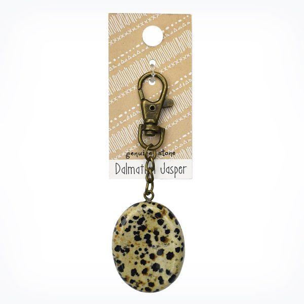 Dalmatian Jasper Wish Stone Charm Keychain