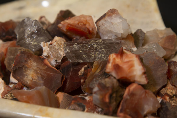 Pile of Carnelian Rough Gems 1 half pound close view