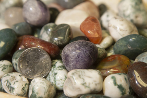 Pile of Natural Assorted Stones 1 pound with quarter for size