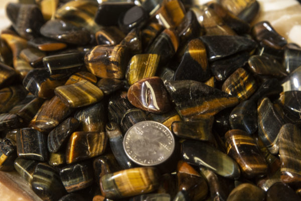 Tiger Eye Tumbled Gems 1 half pound with quarter for size