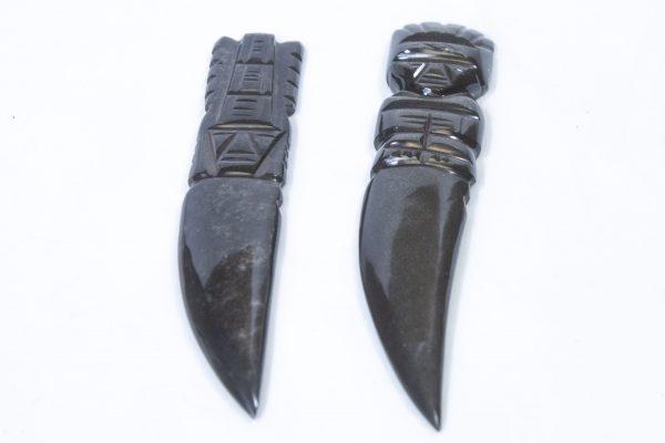 Black Gold Obsidian Letter Opener Dagger front view
