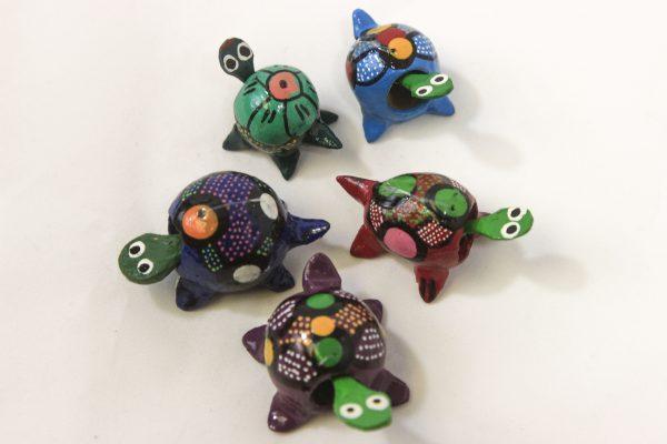 Five Assorted Looseneck Turtle Figurines top view