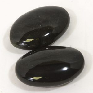 Black Obsidian Palm Stone, with Gold Sheen