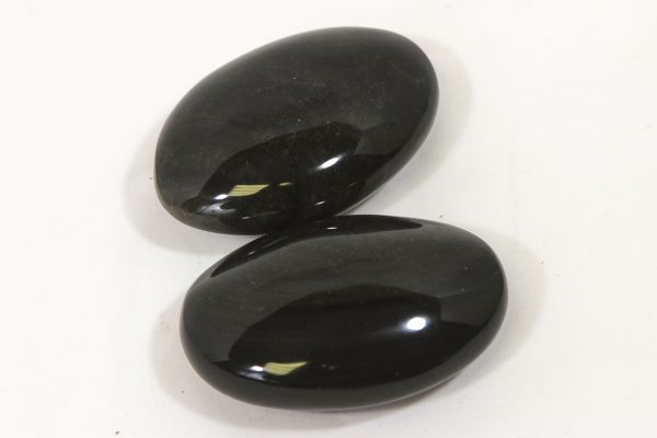 Two Black Obsidian Palm Stones with Gold Sheen