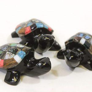 "Obsidian Inlaid Turtle, 4"""