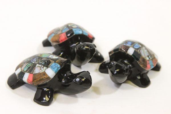 Three 4 inch Obsidian Inlaid Turtles