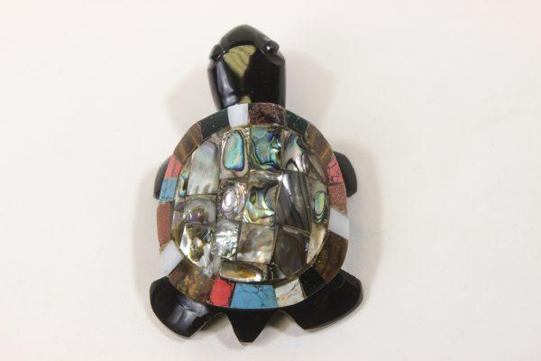 Obsidian Inlaid Turtle 4 inch