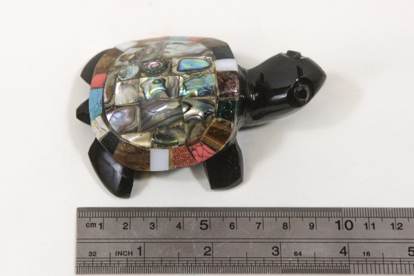 Obsidian Inlaid Turtle 4 inch next to ruler for size comparison