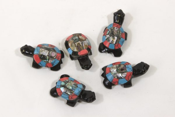 Several 2 inch Obsidian Inlaid Turtles