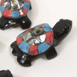 "Obsidian Inlaid Turtle 2"""