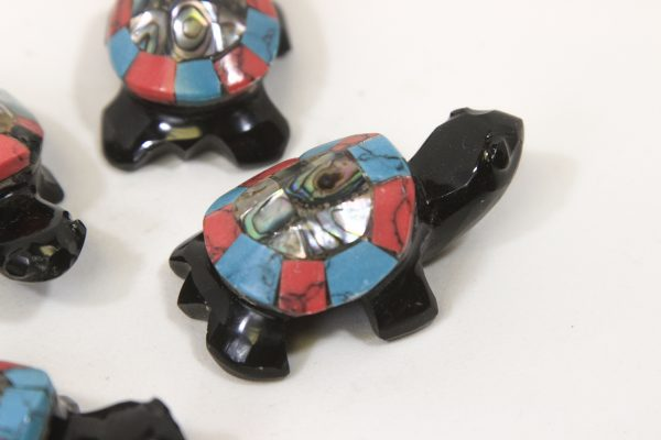 Obsidian Inlaid Turtles 2 inch close up view