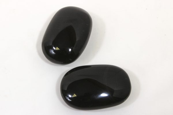 Two Black Obsidian Massage Stones