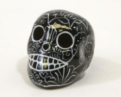 """Day of the Dead Sugar Skull 2"""" Hand Painted Black"""