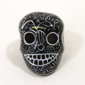 "Day of the Dead Sugar Skull 2"" Hand Painted Black"