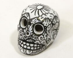 Black and White Painted Day of the Dead Sugar Skull