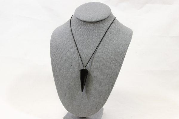 Black Obsidian Pendulum Pendant on necklace