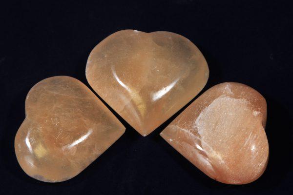 Three Orange Selenite Hearts
