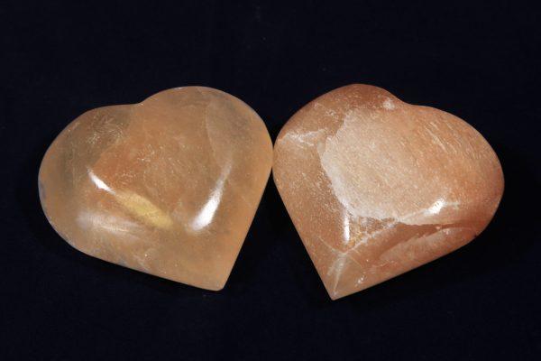 Two Orange Selenite Hearts